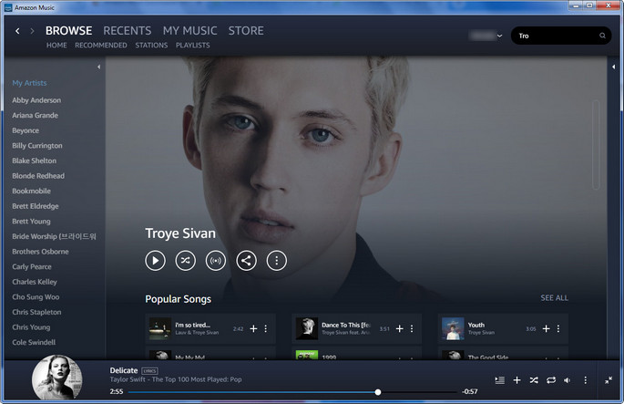 Amazon Music UI